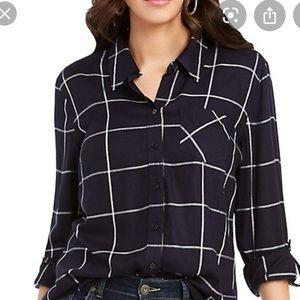 Petite M Navy Windowpane Plaid Check Shirt NWT